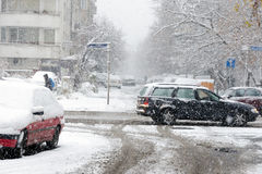 Tungt snöfall i Sofia, Bulgarien arkivfoton