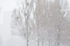 Tungt snöfall i staden arkivfoto