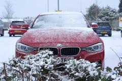 Tungt snöfall i UK Arkivfoton