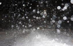 Tungt snöfall på natten royaltyfri fotografi