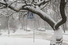 Tungt snöfall på stadsvägarna arkivbilder