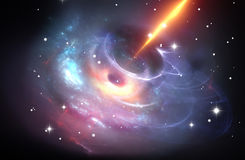 Tungt svart hål med plasmastrålen stock illustrationer