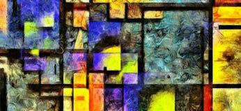 Tungt texturerad Digital abstrakt målning stock illustrationer