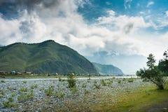 Tungur village on the river Katun. Trekking in the Altai Mountains Stock Photos