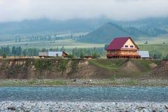 Tungur village on the river Katun. Trekking in the Altai Mountains Stock Images