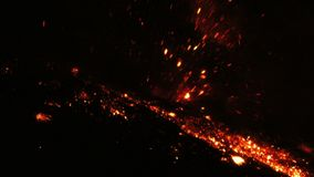 Tungurahua Volcano Amazing Eruption After ein Gedenkminute in der Nacht stock footage