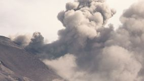 Cotopaxi Volcano Crater During Eruption. Tungurahua Volcano Crater Real Time Powerful Eruption Telephoto Shot During 2015 Explosion, Large Quantity Of Volcanic stock footage