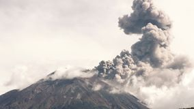 Cotopaxi Volcano Crater During Eruption. Tungurahua Volcano Crater Telephoto Shot During 2015 Explosion, Large Quantity Of Volcanic Ash Blowing Into The Sky stock video footage