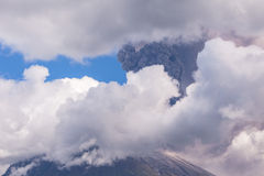 Tungurahua volcano day explosion Royalty Free Stock Photo