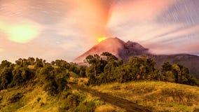 Tungurahua Volcano Erupting Long Exposure Royalty Free Stock Photos