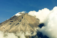 Tungurahua Volcano Eruption. Against Clear Blue Sky In Ecuador South America Stock Images