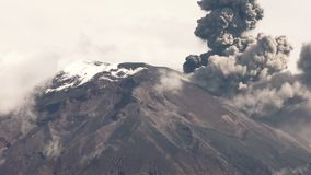 Tungurahua Volcano Eruption 2015. Tungurahua Volcano Crater Telephoto Shot During 2015 Explosion, Large Quantity Of Volcanic Ash Blowing Into The Sky stock video