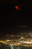 Tungurahua Volcano Eruption And Patate City immagini stock