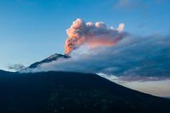 Tungurahua volcano explosion. On November  2010 at dawn, Ecuador Royalty Free Stock Images