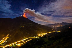 Tungurahua volcano explosion. On November 2010 at night, Ecuador stock image