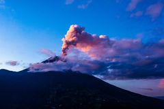 Tungurahua volcano explosion. On November  2010 at dawn, Ecuador Royalty Free Stock Photography