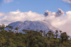 Tungurahua volcano sunset explosion Stock Photo
