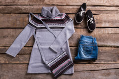 Tunic with jeans and keds. Royalty Free Stock Photo