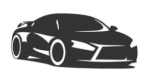 Tuning car. Silhouette for print or for site Stock Image