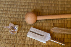 Tuning fork. And crystal on a table Stock Image