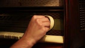 Tuning Old Radio stock footage
