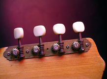 Tuning Pegs. Detail of classic acoustic guitar tuning pegs Royalty Free Stock Images
