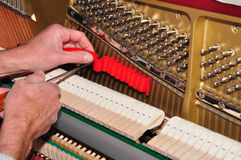 Tuning the piano. Close-up of the tuning of a piano royalty free stock photo