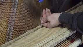 Tuning Piano with a screwdriver. Close up shot of tuning piano.  stock footage