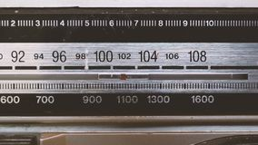 Tuning radio. Meter moving on a radio for tuning stock footage