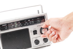 Tuning The Stations. On Retro Radio Royalty Free Stock Photos