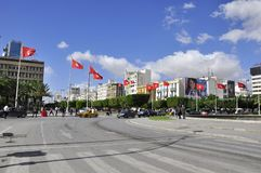 Tunis 14 January revolution square. Place 14 Janvrier, with tunisian red flags royalty free stock photos