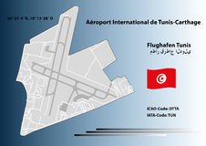 Tunis airport - Graphic Art. The airport of Tunis, in a graph prepared with the most important information Stock Images