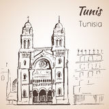 Tunis Cathedral sketch. Isolated on white background Royalty Free Stock Images