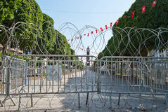 Tunis central square with barbed wire Royalty Free Stock Image