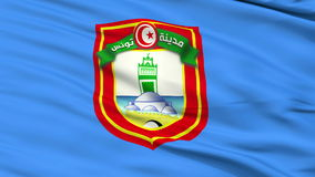 Tunis City Close Up Waving Flag. Tunis Capital City Flag of Tunis, Close Up Realistic 3D Animation, Seamless Loop - 10 Seconds Long stock video footage