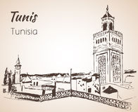Tunis cityscape sketch. Isolated on white background Royalty Free Stock Images