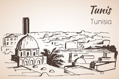 Tunis cityscape sketch. Isolated on white background Royalty Free Stock Photo