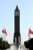 Tunis clock tower. Major squares in Tunis, Tunisia Royalty Free Stock Image