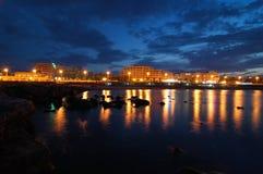 Tunis in nacht Stock Afbeeldingen