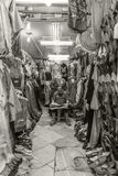 Tunis tailor. Shop of chilabas in the souk of Tunis Royalty Free Stock Image
