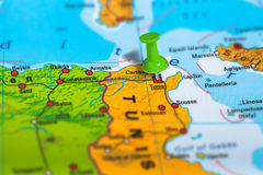 Tunis Tunezja mapa Fotografia Stock