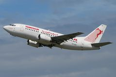 Tunisair plane take off. Tunisair is Tunisia's national carrier and operates routes to Europe, Africa and the Middle East. During summer period the load factor Royalty Free Stock Photos