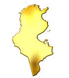 Tunisia 3d Golden Map Stock Photography