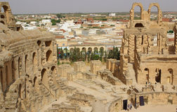 TUNISIA, AFRICA - August 03, 2012: Coliseum in El-Jem in summer Royalty Free Stock Photography