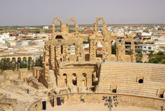TUNISIA, AFRICA - August 03, 2012: Coliseum in El-Jem in summer Stock Images