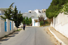 TUNISIA, AFRICA - August 02, 2012: Streets in Sidi Bou Said  in Stock Image