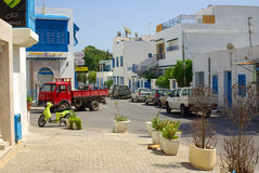 TUNISIA, AFRICA - August 02, 2012: Streets in Sidi Bou Said  in Stock Photo
