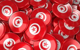 Tunisia Badges Background - Pile of Tunisian Flag Buttons. Stock Image