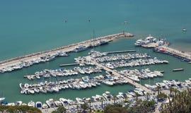 Tunisia Capital city. Tunis-Tunisia parking for yachts port 18/07/2014 royalty free stock photography