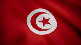 Tunisia closeup flag, city of Tunisia, realistic animation seamless loop. Waving Red Flag Of Tunisia. Tunisia closeup flag, city of Tunisia, realistic animation stock footage